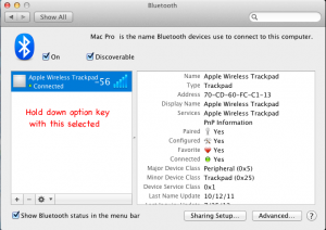 Fix Apple Magic Trackpad hold down option key to show signal strength