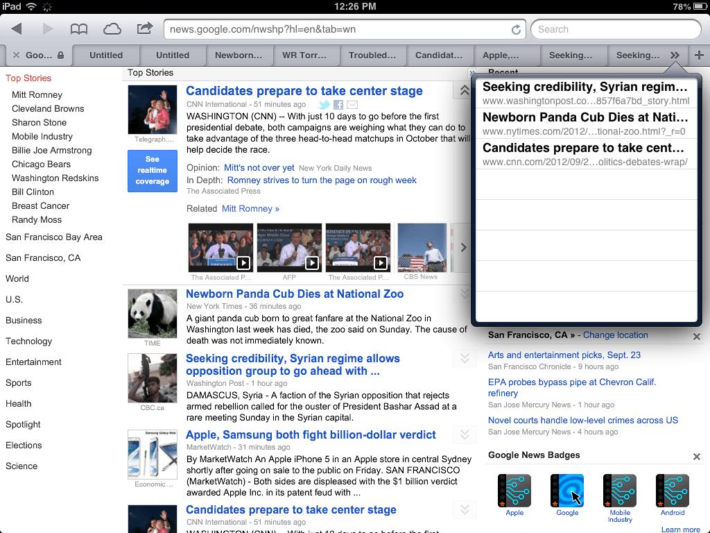tabbed browsing in Safari for iOS 6