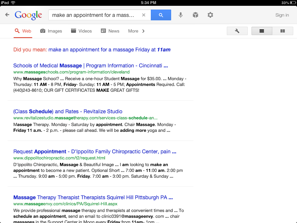 Google search results for massage appointment