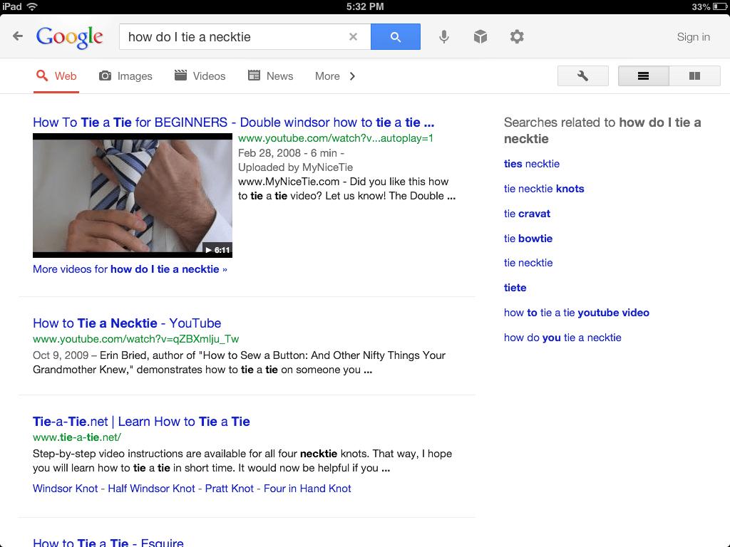 Google search how to tie necktie