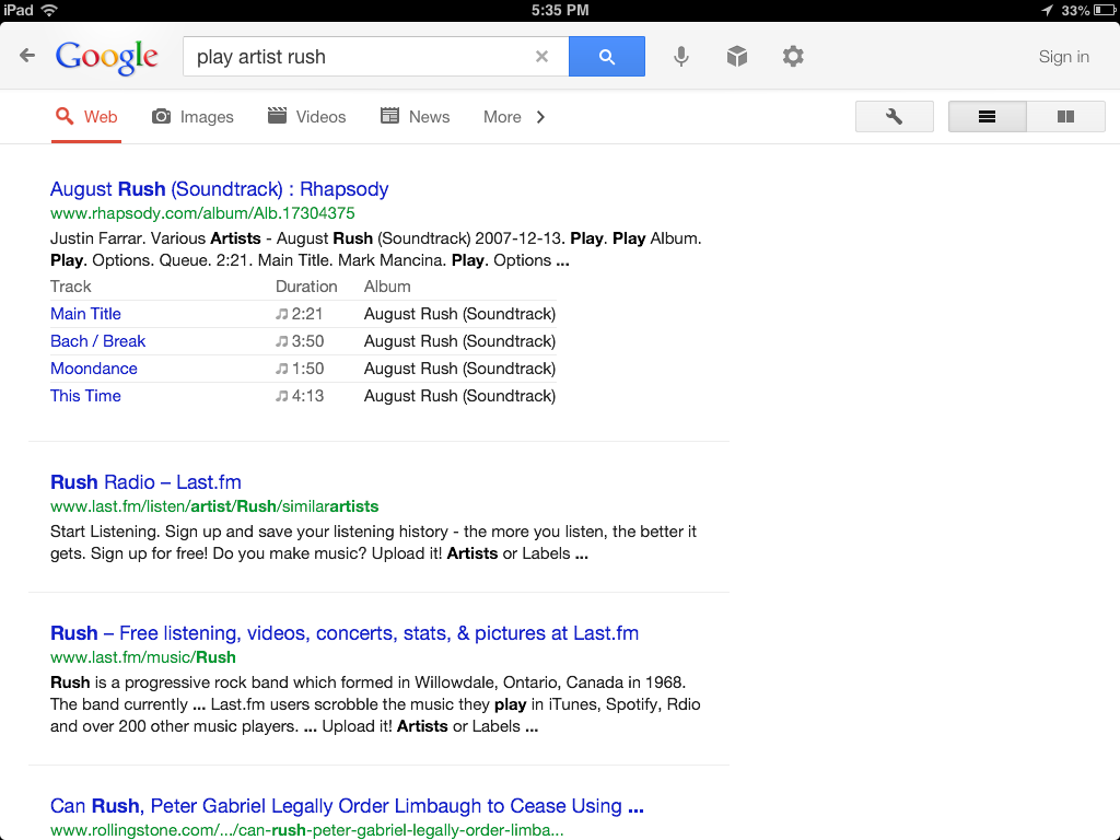Google search results for play artist Rush