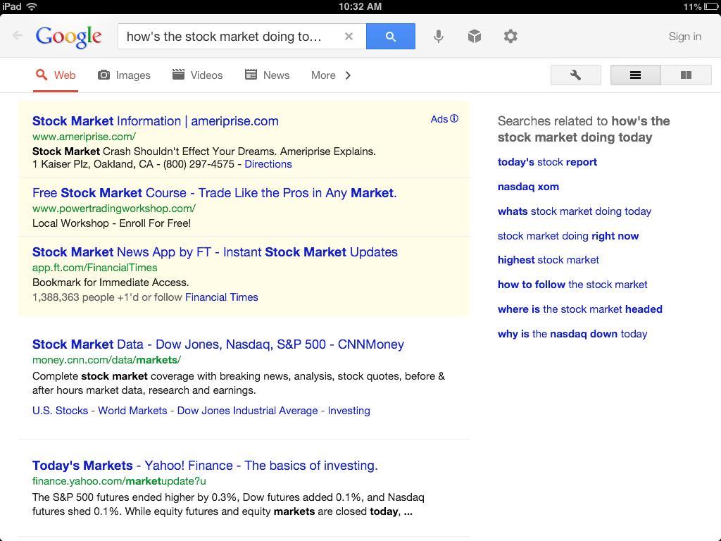 Google search vague stock info