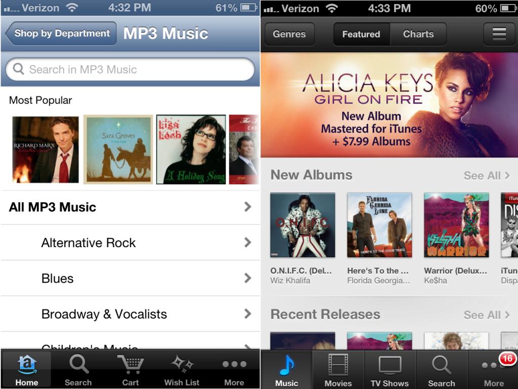 Amazon MP3 store vs. iTunes