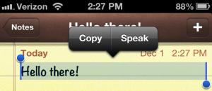 iPhone speak selection option