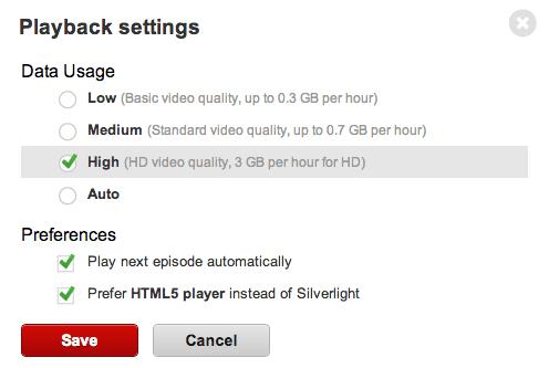 Netflix playback settings