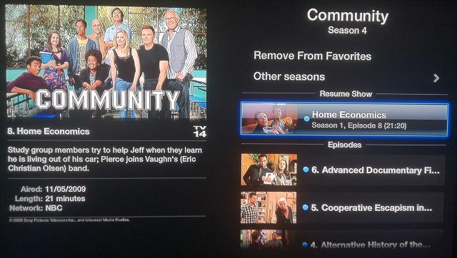 Hulu Plus series menu for Apple TV