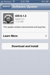 iOS 6.1.3 upgrade screen