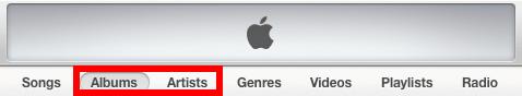 switch iTunes artist or album view
