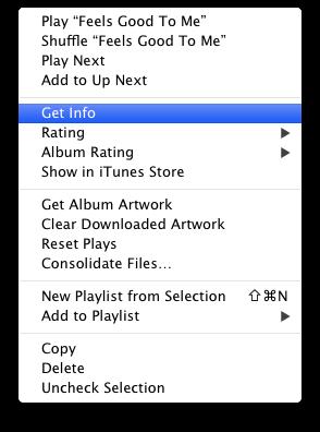 iTunes album pop up menu