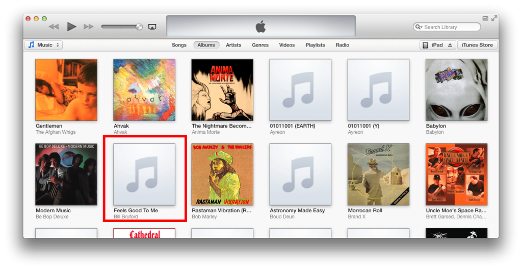 select album with missing artwork in iTunes