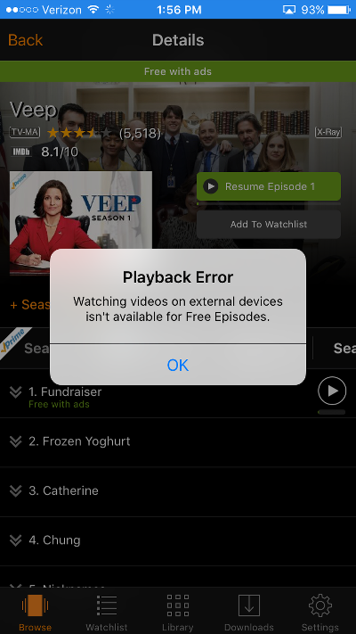 Amazon Prime AirPlay Mirroring Error