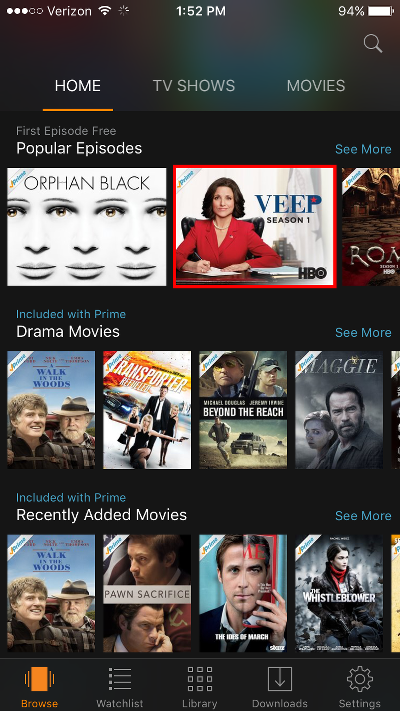 Select Amazon Video Program to Watch