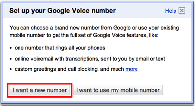 Google Voice choose new or existing phone number