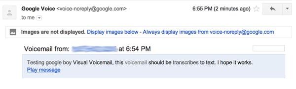 Google Voice voicemail transcription