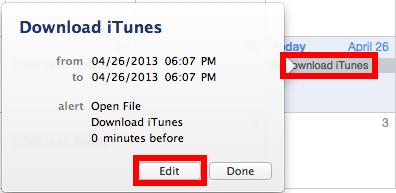 edit Calendar event to schedule iTunes download