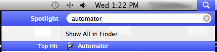 launch Automator with Spotlight