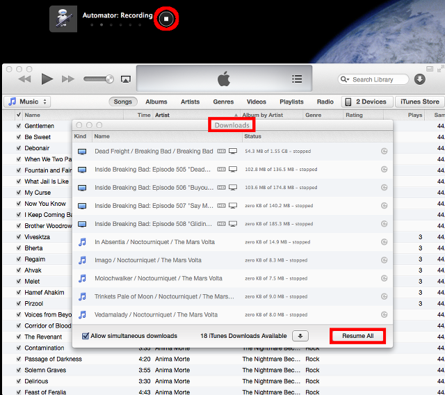 record iTunes download with Automator