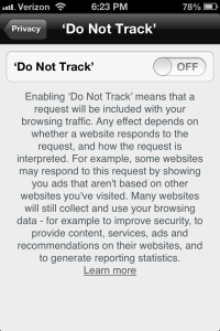 Chrome for iPhone Do Not Track