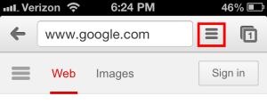Chrome for iPhone menu button