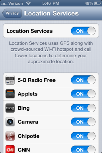 Location Services settings for iPhone
