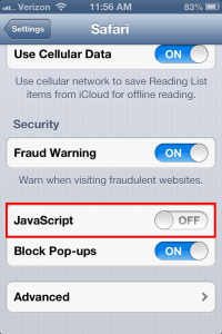 Safari for iPhone turn off JavaScript