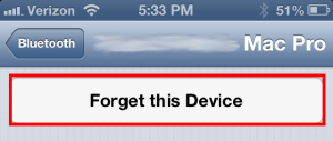 iPhone forget Bluetooth device