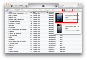 select iOS device in iTunes