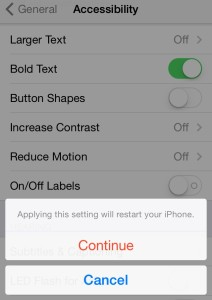improve iOS 7 text legibility by turning on Bold Text