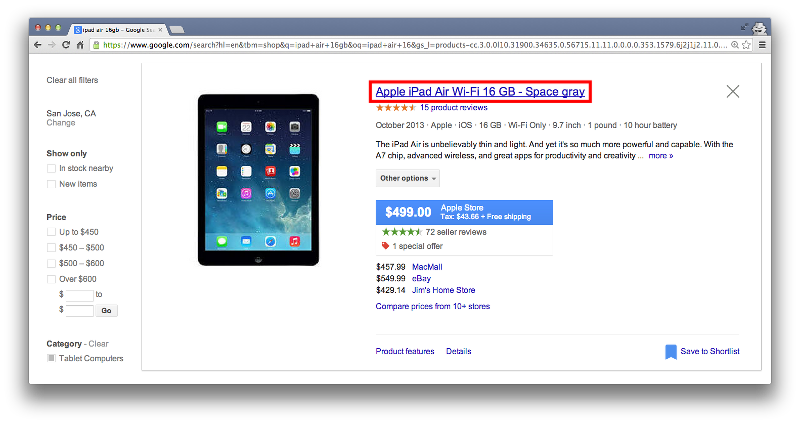 buy iPad with Google Shopping