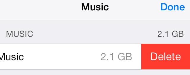 tap delete button to delete all music