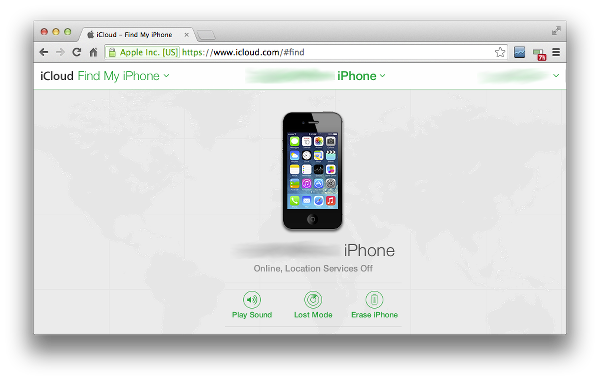 Find My iPhone on the iCloud website