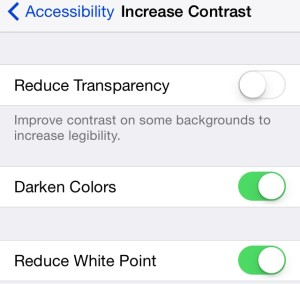 Increase Contrast settings can improve readability in iOS 7