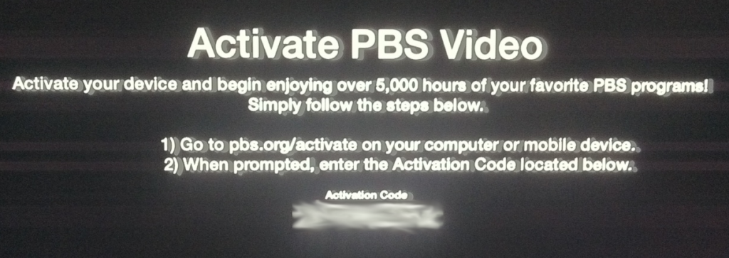 activation screen for PBS on Apple TV