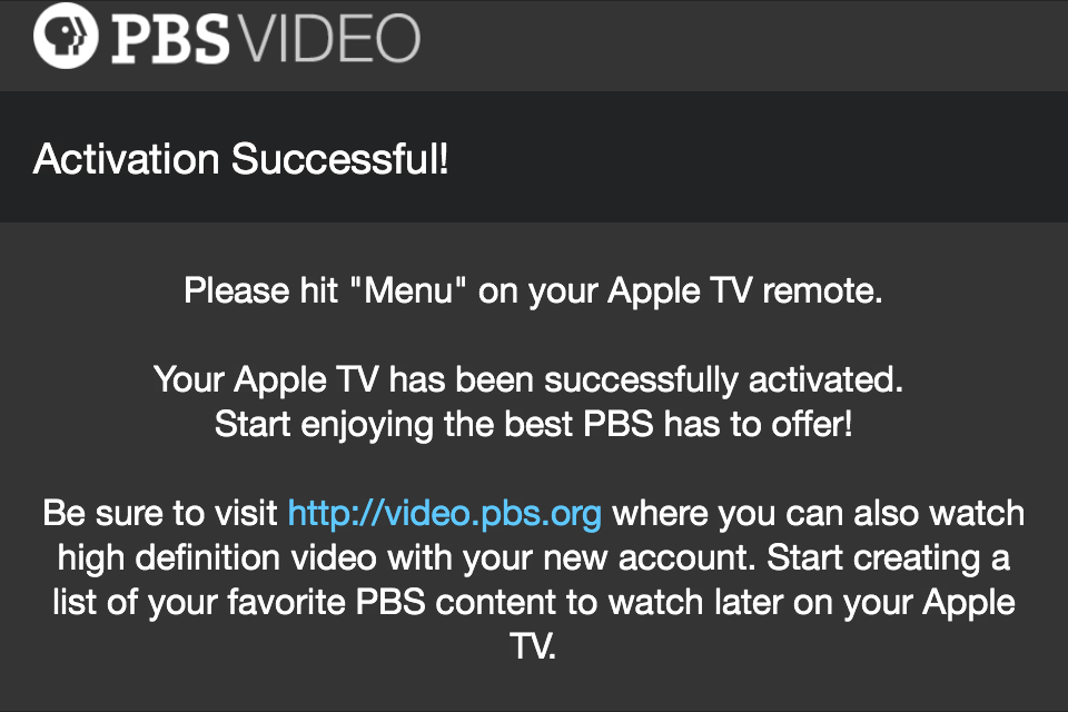PBS for Apple TV activation successful