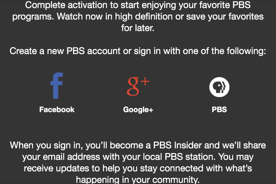 PBS for Apple TV signup