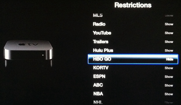 Show and hide icons on Apple TV's main menu