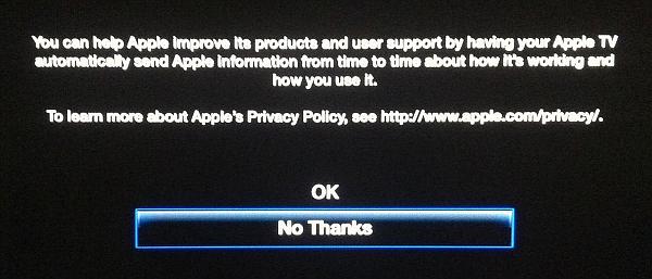 turn off send data to Apple on Apple TV