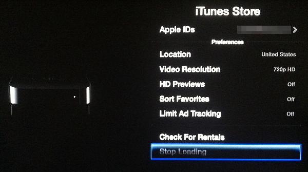 stop iTunes downloads on Apple TV