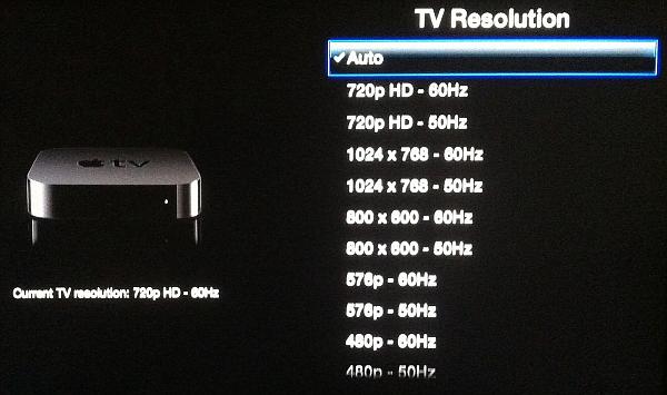 change resolution on Apple TV