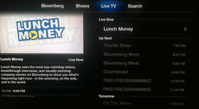 Bloomberg live TV schedule on Apple TV