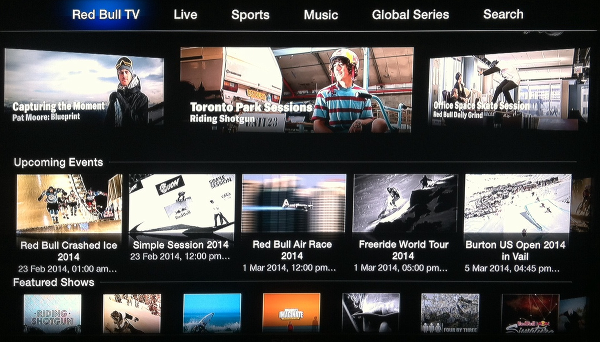 Red Bull channel for Apple TV