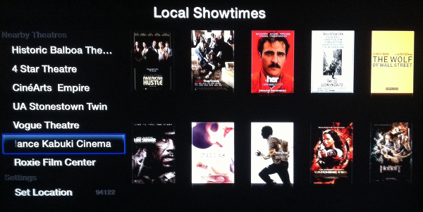 browse show times for local theaters on Apple TV Trailers