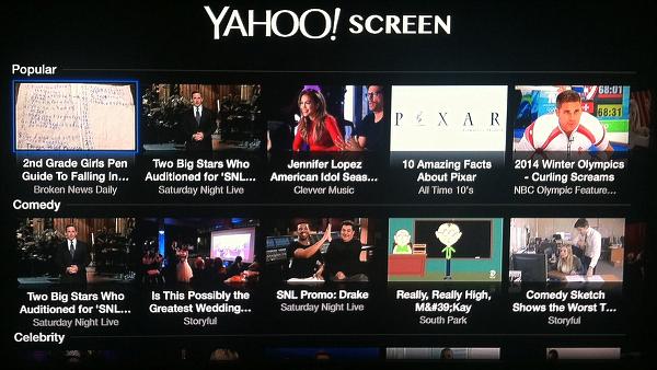Apple TV Yahoo Screen