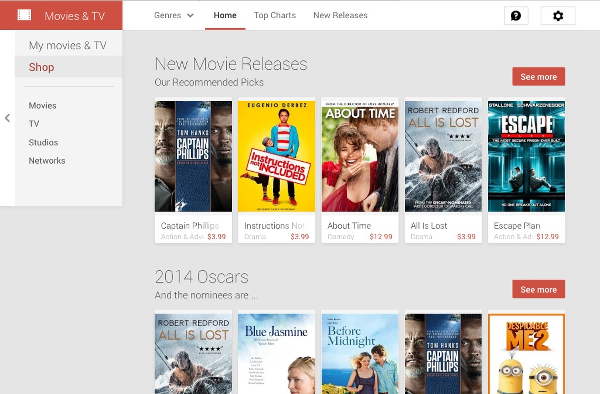 purchase movies and TV shows from the Google Play website