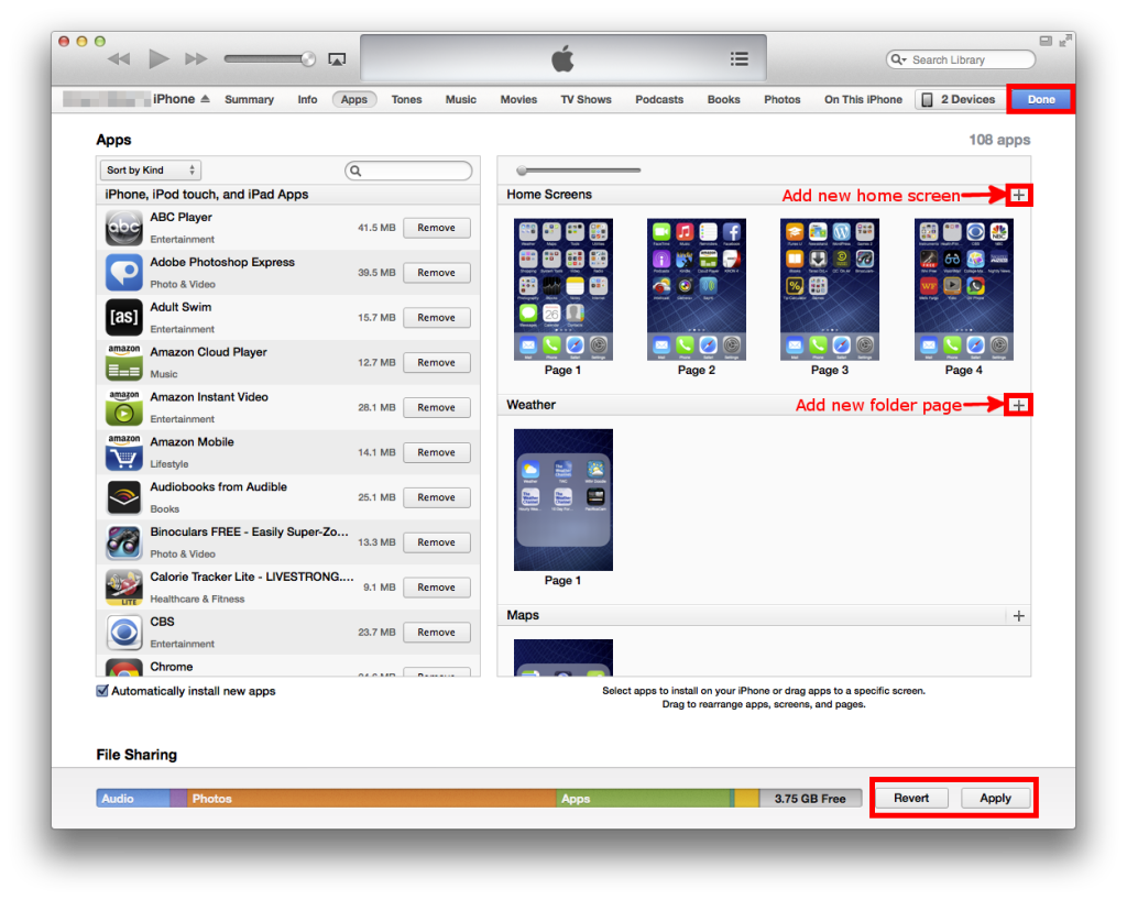 add new home screen or folder page on your iPhone with iTunes