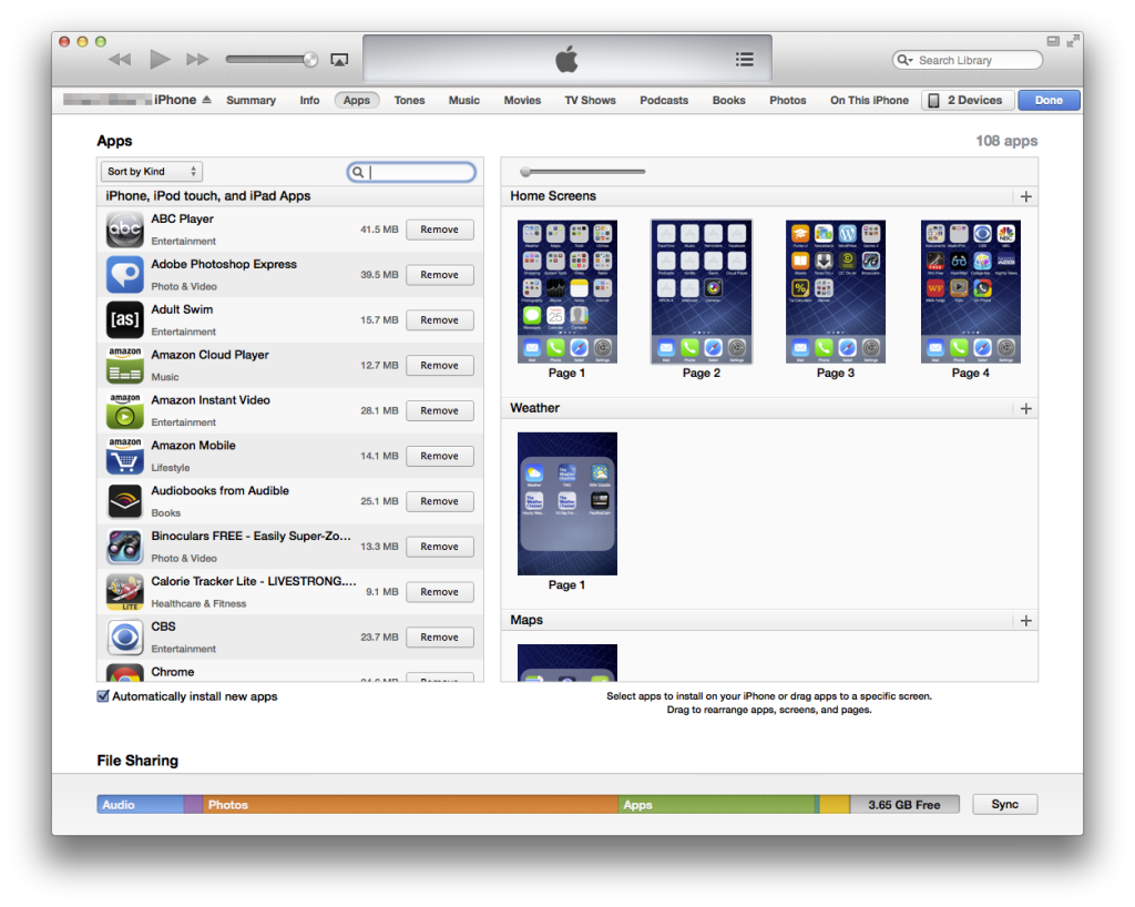 iTunes screen for arranging iPhone home screens