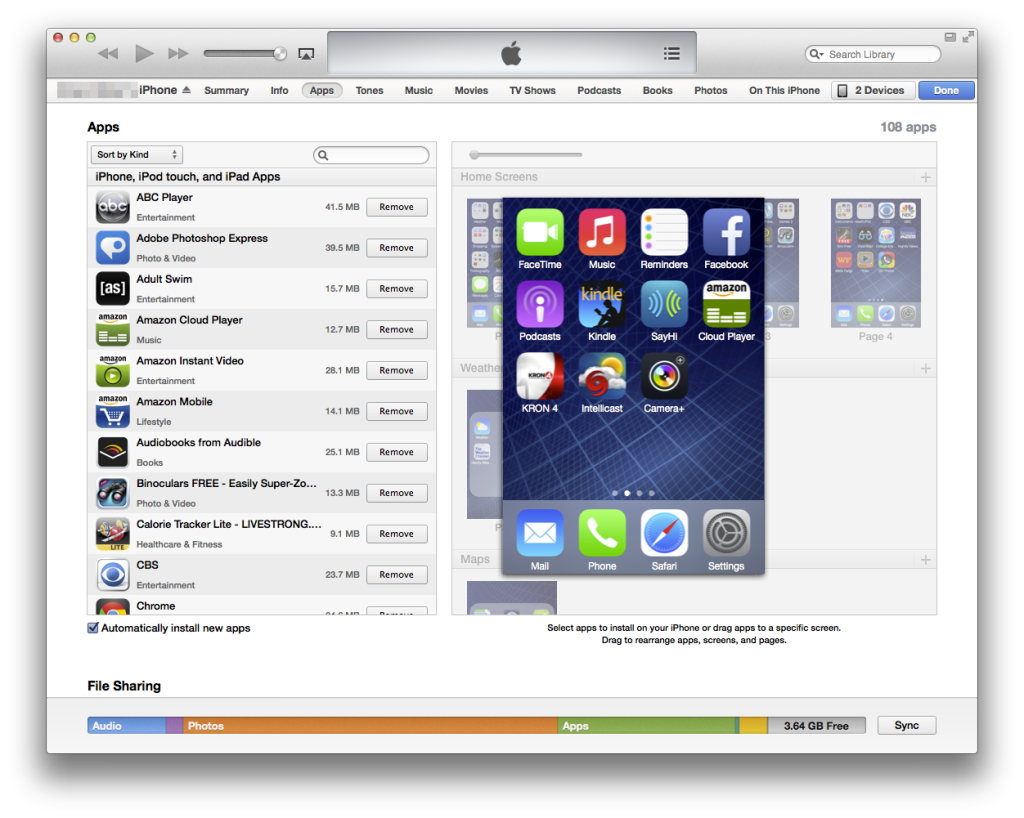 zoomed in iPhone home screen on iTunes