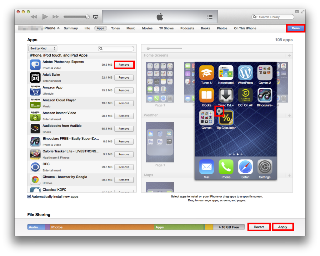 delete apps with iTunes