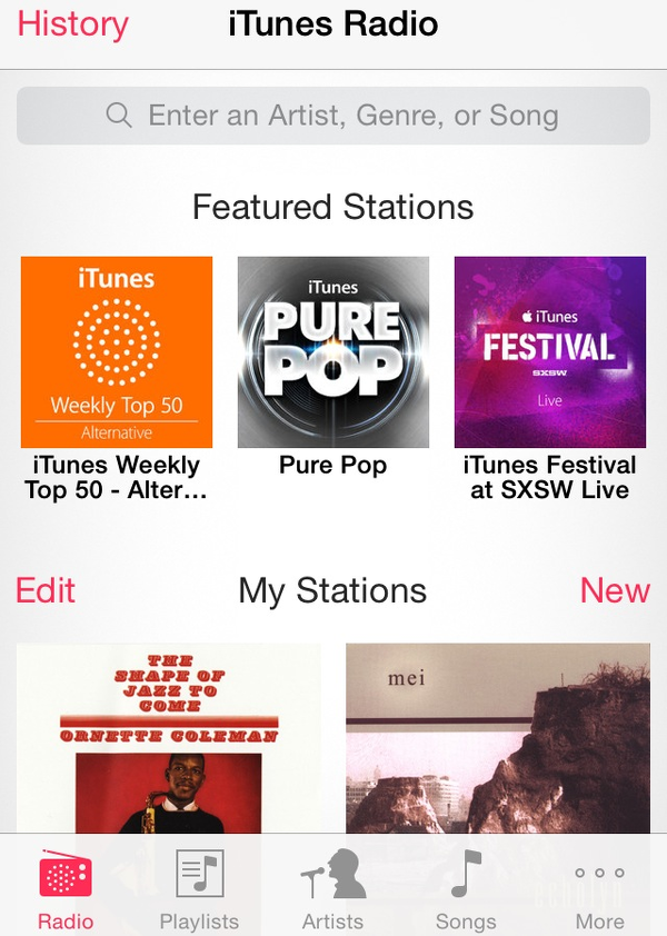 iOS 7.1 introduces easily accessible search field for iTunes Radio