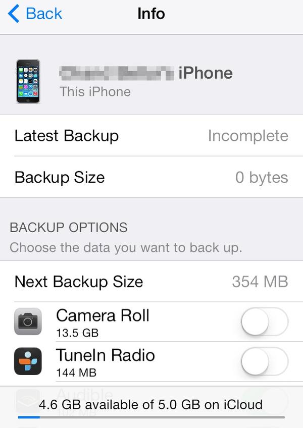 iCloud backup options